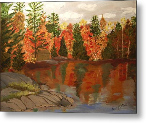 Landscape Metal Print featuring the painting Fall Waterfront by Sal Cutrara