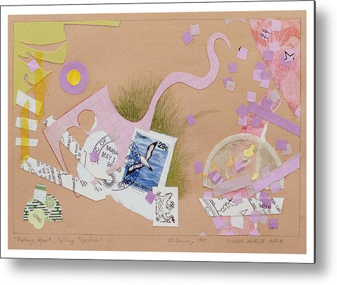 Collage Metal Print featuring the mixed media Falling Apart Falling Together by Eileen Hale