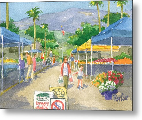 Carpinteria Farmers Market Metal Print featuring the painting Farmers Market by Ray Cole