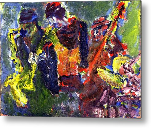 Live Jazz Quartet Metal Print featuring the painting Faruq And Skeeter by Don Thibodeaux