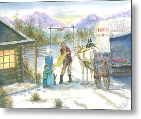 Pioneer Shopping Metal Print featuring the painting First Snow - Last Call by Dan Bozich