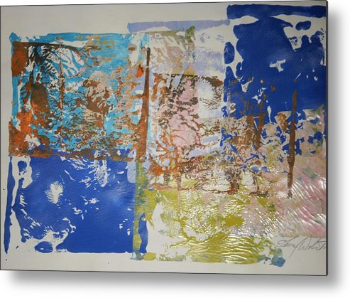 Abstract Metal Print featuring the painting Flags Of Glory by Edward Wolverton