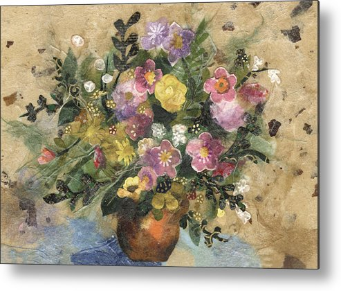 Limited Edition Prints Metal Print featuring the painting Flowers In A Clay Vase by Nira Schwartz