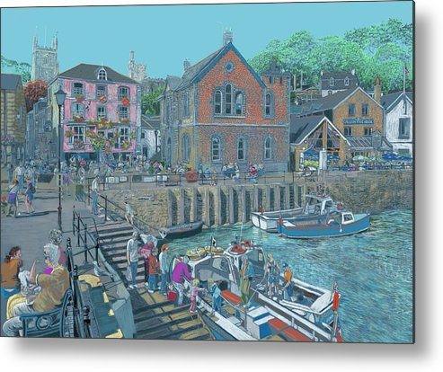 Sunny Day People Enjoying A Day On The Quay Metal Print featuring the digital art Fowey Cornwall by Kevin Collins