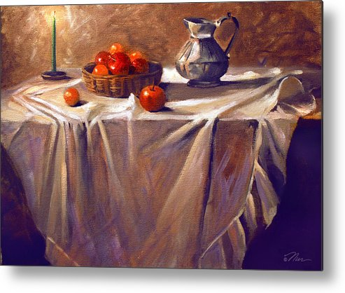 Still Life Metal Print featuring the painting Fruit By Candle Light by Nancy Griswold