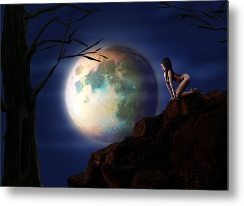 Moon Metal Print featuring the digital art Full Moon by Virginia Palomeque