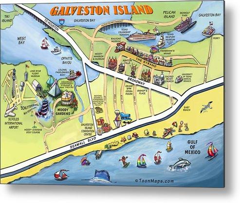 Galveston Metal Print featuring the digital art Galveston Texas Cartoon Map by Kevin Middleton