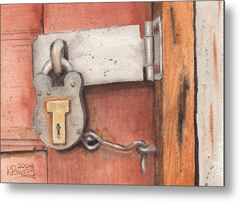 Lock Metal Print featuring the painting Garage Lock Number Four by Ken Powers