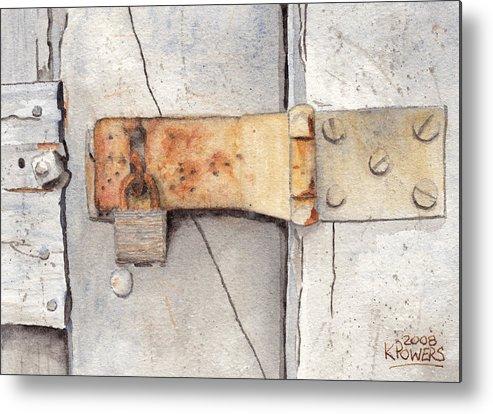 Lock Metal Print featuring the painting Garage Lock Number Two by Ken Powers