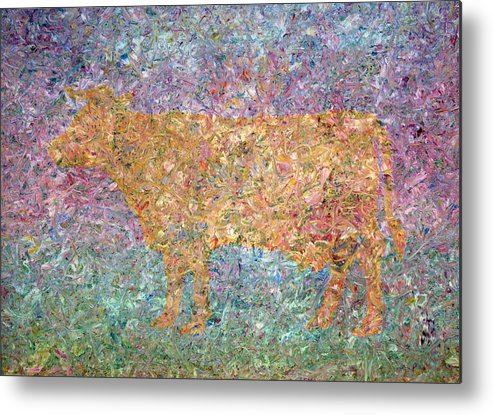 Abstract Metal Print featuring the painting Ghost Of A Cow by James W Johnson