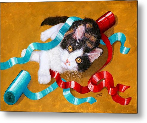 Kitty Metal Print featuring the mixed media Gift Wrapped Kitty by Lorraine Foster