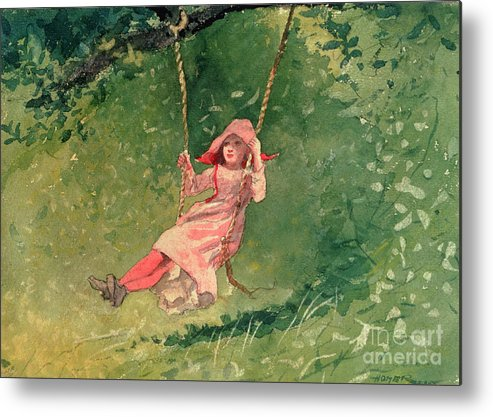 Girl On A Swing (w/c & Pencil On Paper) By Winslow Homer (1836-1910) Metal Print featuring the painting Girl On A Swing by Winslow Homer