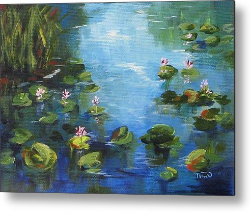 Giverny Metal Print featuring the painting Giverny Lily Pond by Torrie Smiley