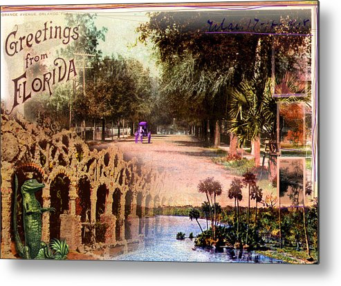 Collage Metal Print featuring the photograph Greetings From Florida by Deborah Hildinger
