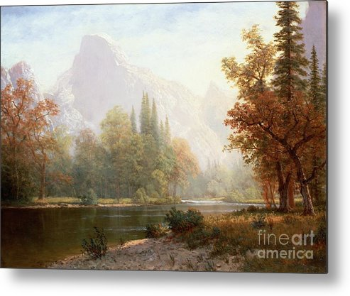 Albert Bierstadt Metal Print featuring the painting Half Dome Yosemite by Albert Bierstadt