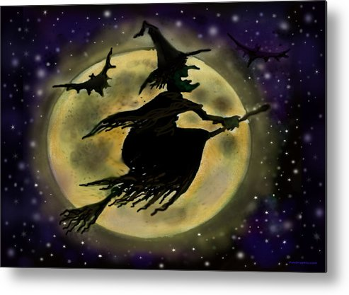 Halloween Metal Print featuring the digital art Halloween Witch by Kevin Middleton