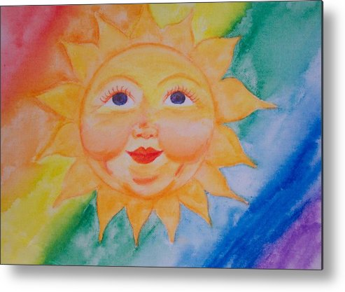 Sun Metal Print featuring the painting Happy Sun by Jennifer Hernandez