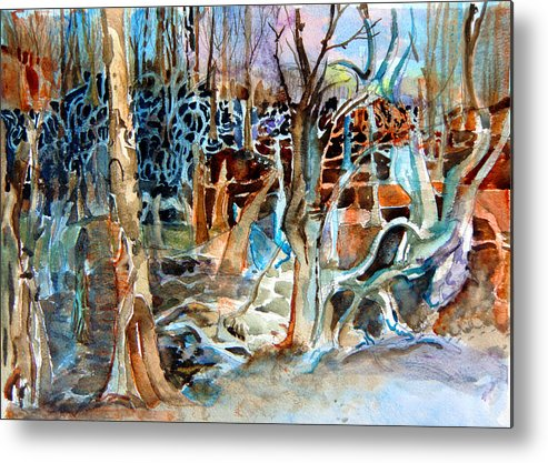 Original Art Metal Print featuring the painting Haunted Swampland by Mindy Newman