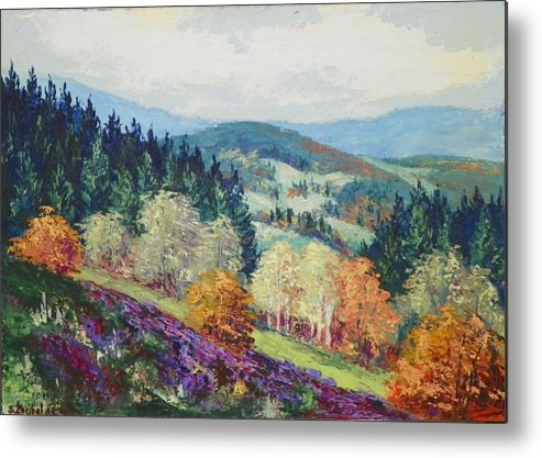Landscape Metal Print featuring the painting Heather Meadow by Stanislav Zhejbal