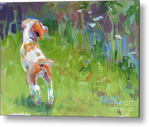 Brittany Spaniel Metal Print featuring the painting Her First Point by Kimberly Santini