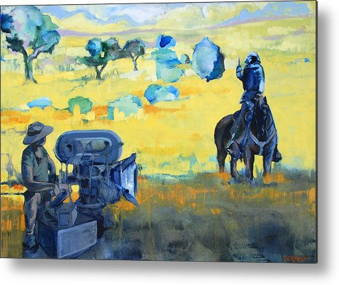 Landscape People Animals Horses Horse Film Camera Yello Blue Metal Print featuring the painting Hero On A Horse by Amy Bernays