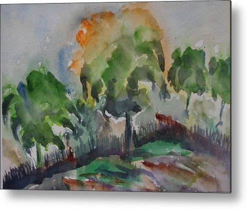 Green Nature Metal Print featuring the painting Hilly Slope by Rima