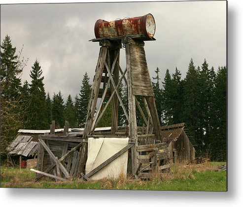 Farm Metal Print Featuring The Photograph Homemade Water Tower By Hugh  Carino