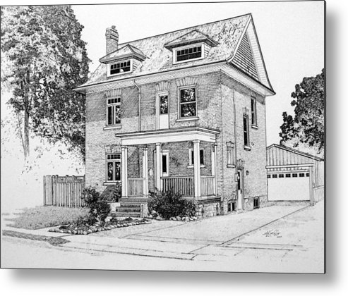 House Portrait From Photograph Metal Print featuring the drawing House Portrait In Ink 1 by Hanne Lore Koehler