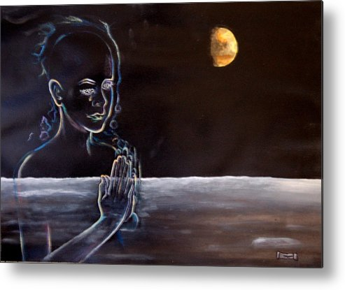Moon Metal Print featuring the painting Human Spirit Moonscape by Susan Moore