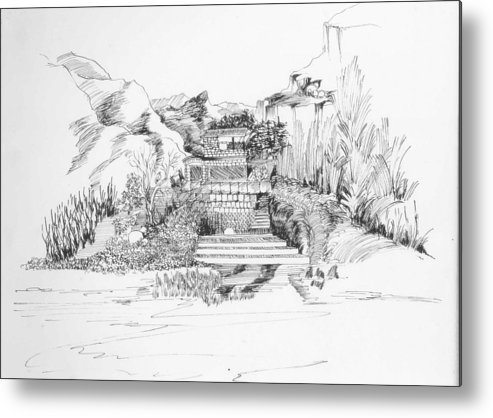 Landscape Metal Print featuring the drawing Hut In The Hills by Padamvir Singh