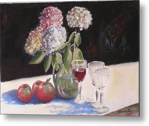 Still Life Of Glass Metal Print featuring the painting Hydrangeas Apples And Wine by Joseph Stevenson
