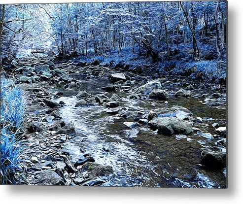 Abstract Metal Print featuring the digital art Ice Blue Forest by Svetlana Sewell