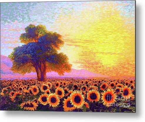 Field Metal Print featuring the painting In Awe Of Sunflowers, Sunset Fields by Jane Small