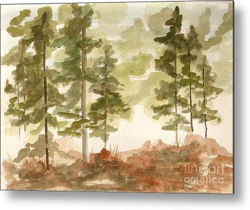 Trees Metal Print featuring the painting In The Trees by Jackie Mueller-Jones