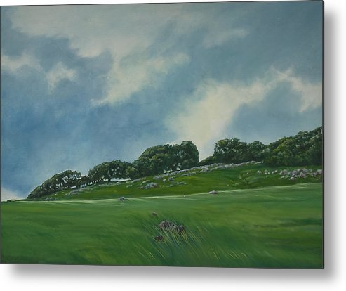 Landscape Metal Print featuring the painting Incoming Coastal Fog by Tom Thomas