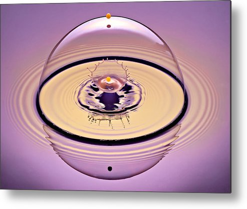 Water Drop Collision Metal Print featuring the photograph Inside A Saturn Bubble by Susan Candelario