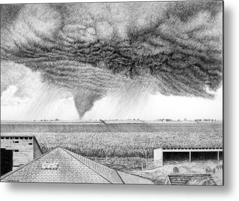 Twister Metal Print featuring the drawing It's A Twister by Craig Carlson