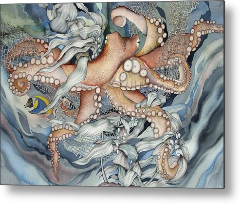 Sealife Metal Print featuring the painting Its A Wonderful Wonderful World by Liduine Bekman