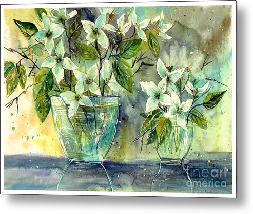 Cosmic Metal Print featuring the painting Jasmine In Glass by Suzann Sines