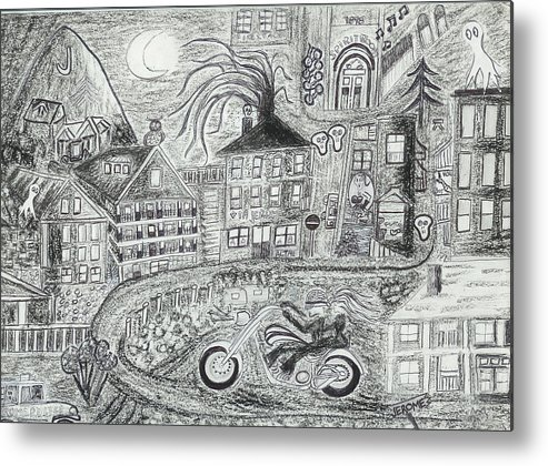 Jerome Panorama Metal Print featuring the drawing Jerome Moonlight Arizona by Ingrid Szabo