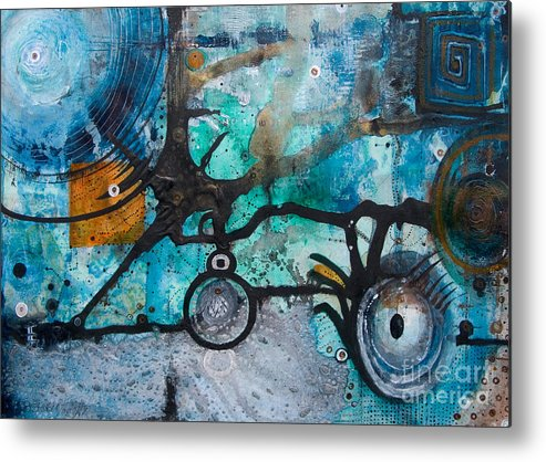 Abstract Metal Print featuring the painting Joining The Dots by Jay Taylor
