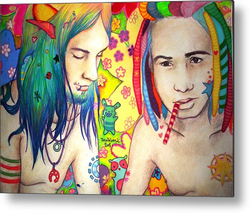 Colours Metal Print featuring the drawing Kamil And Louis by Freja Friborg