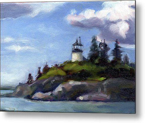 Lighthouse Metal Print featuring the painting Keeping Watch by Todd Baxter