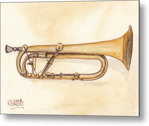 Trumpet Metal Print featuring the painting Keyed Trumpet by Ken Powers