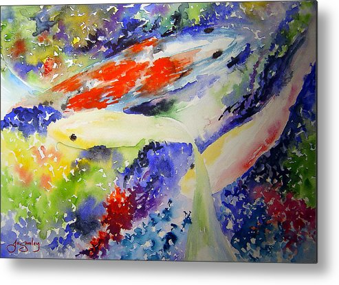 Koi Metal Print featuring the painting Koi by Joanne Smoley