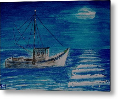 Shrimp Boat Metal Print featuring the painting Lady Blue by Spencer Joyner