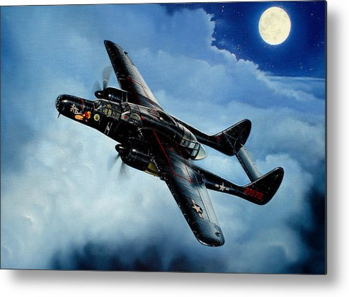 Military Metal Print featuring the painting Lady In The Dark by Marc Stewart