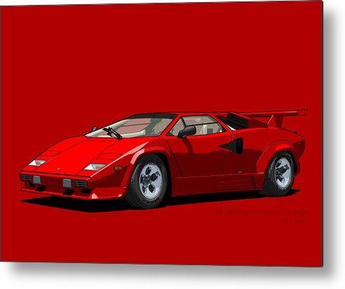 Lamborghini Countach 5000qv Rosso Siviglia Us Spec Metal Print By