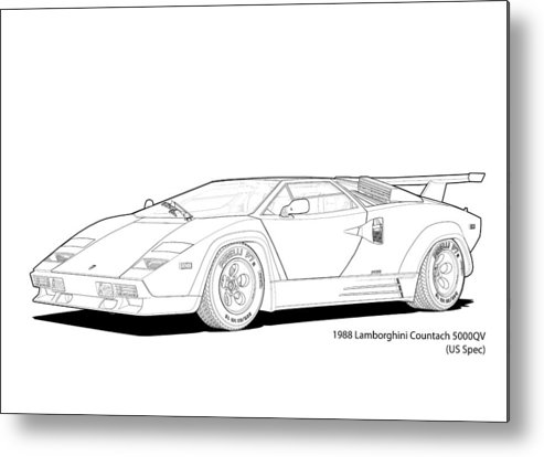 Lamborghini Countach 5000qv (us Spec) Italian Super Car Digital Technical  Illustration Digital Art 1988
