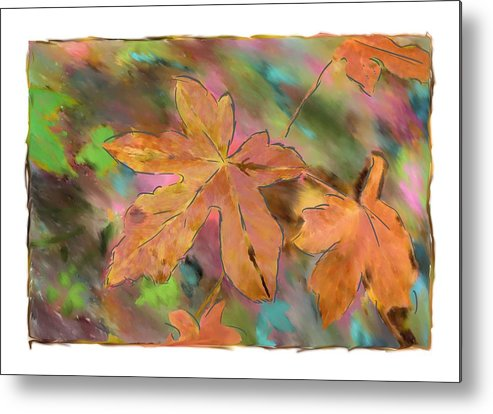 Abstract Digital Art Metal Print featuring the photograph Last Of The Fall Leaves Abstract Digital Art by Sandy Belk